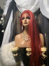 """STUNNING ROSE PETAL RED, 36""""SOFT,HUMAN HAIR BLEND, LACE FRONT HEATFRIENDLY, WIG!"""
