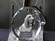 Redbone Coonhound, Dog Crystal Round Keyring, High Quality, Crystal Animals Usa