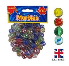 100 X Glass Marbles Coloured Marble Clear Kids Toys Vintage Traditional Games UK