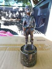 MINIATURE BRONZE YOUNG  SHOE SHINE BOY SMOKING W MARBLE STAND GAY INTEREST