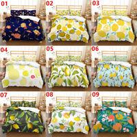 Lemon Floral Single/Double/Queen/King Bed Quilt/Doona/Duvet Cover Set Pillowcase