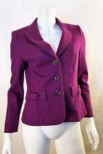 RENA LANGE Grape Deep Purple Wool Bow Pocket Blazer Jacket Sz US 8 *EUC*