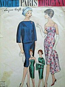 Vintage Vogue Paris Original , Jacques Griffe dress and jacket. Uncut size 12