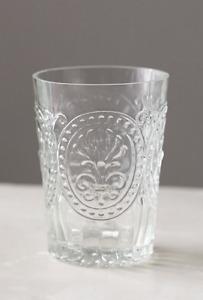 SET of 4 Anthropologie Fleur de Lys Clear 6 oz Juice Glasses Lis French Seam NWT