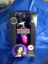 Karaoke Plug-into phone Microphone Pink w/stand and built-in speakers Use w/Apps