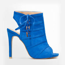 Womens Ladies High Heel PEEP Toe Cut out Ankle Boot Sanals Shoes Size 2-7 UK 5 Blue
