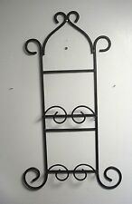 Plate Display Rack Holder Hanger Wall 2 Plate Wrought Iron vertical BLACK