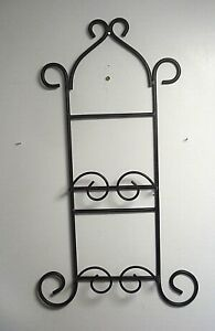 wall hanging plate Rack Holder 2 Plate Wrought Iron vertical BLACK display