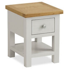 Farrow Grey Side Table / Small Painted Lamp Table with Drawer / Solid Wood / Oak