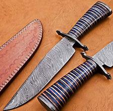Handmade Damascus Steel Bowie Knife Multi Coloured Micarta Handle With Sheath