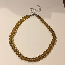 "Necklace 13-17"" 33-43cm 8mm beads Lovely Faceted Yellow Glass Bead Choker"