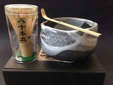 Japanese Shinsetsu Matcha Cup Bowl Bamboo Scoop 80 Whisk Tea Ceremony Gift Set