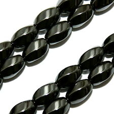 "MAGNETIC HEMATITE BEADS TWIST SWIRL OVAL 6X9MM 16"" BEAD STRANDS MH69"