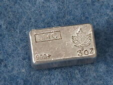 Johnson Matthey Canada Maple Leaf .999 Silver 3 Oz Bar Old Poured Type B6967