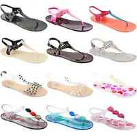 WOMENS LADIES GIRLS FLAT SUMMER BEACH RETRO JELLY SANDALS FLIP FLOPS SHOES SIZE