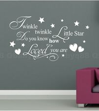 Twinkle Star Heart Wall quote decals stickers home decor kids nursery baby white