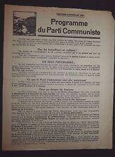 POLITIQUE FRANCE CANTONALES 1934 PROGRAMME DU PARTI COMMUNISTE
