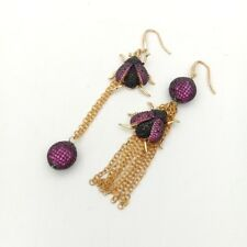 Purplish red CZ Micro Gold plated beetle & CZ Pave connector hook earrings