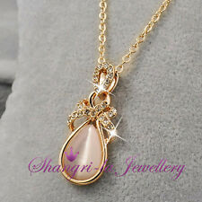 18K 18ct GOLD GP CAT EYE Lab Moon Stone Teardrop NECKLACE Swarovski CRYSTAL L345