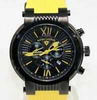 Swiss Legend Men's Legato Cirque Watch Black Yellow Chronograph Swiss Quartz