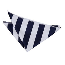 DQT Woven Striped Navy Blue & White Formal Handkerchief Hanky Pocket Square