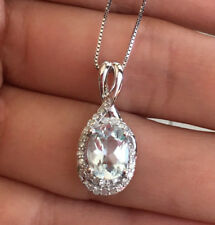 14k White Gold Natural Aquamarine Diamond Halo Pendant Necklace Box Chain