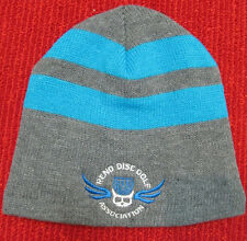 Disc Golf Beanie Hat-Fleece Lined - Skull and Basket- Blue and Grey- Sick!