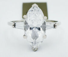 WHITE SAPPHIRE 3.60 Cts ENGAGEMENT RING 14K WHITE GOLD * New With Tag*