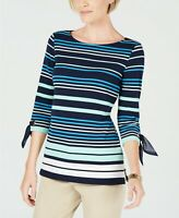 Charter Club Women's Petite Striped Tie-Sleeve Intrepid Blue Combo Top Size PP
