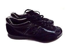 ECCO Soft Women's Shoes Tie on Sneakers Sz 6 M EU 37, Black Patent Leather