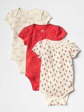 New Baby Gap 3 Pack Red Bird Print Ivory Red Bodysuits Tops Size 3-6m NWT Girls