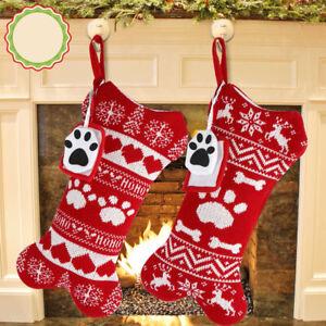 Pet Christmas Stocking Bone Shape Knit Socks for Dog Home Christmas Decorations