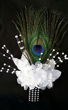 Peacock Feather Wedding BOUTONNIERE, White flower, CORSAGE,PROM,Quinceañera,Gift