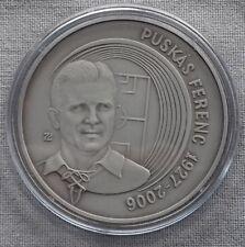 Hungary silver .999 medal Ferenc Puskas football commemorative - patinated BU