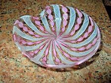 Vintage Murano Glass Latticino w Copper Dust Aventurine Bowl Dish
