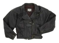 FORENZA LEATHER Jacket S Small Womens Motorcycle Biker Belted Cropped Black