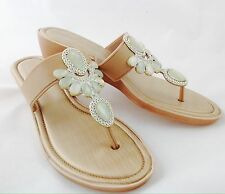 Large Size Ladies Beige Jewelled Sandal Wedge Shoes Size UK10 EUR44 PLUS SIZE