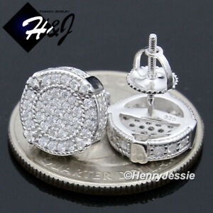MEN 925 STERLING SILVER 10MM ICY DIAMOND BLING ROUND SCREW BACK STUD EARRING*185