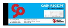 Cherry Cash Receipt - Cheque Book Style with stub 210mm x 74mm 50page 80gsm