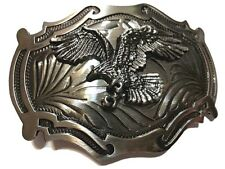 ✖ WESTERN Steer Eagle Platinum Color Beauty Cowboy Rodeo Style ✖ Belt Buckle