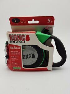 KONG Green Reflect Flexible Retractable Hi-Vis Dog Lead size L 50kg 5M