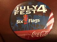 "Coco Cola Six Flags Great America Pinback Button 3.5"" Diameter"