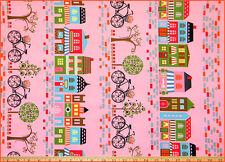 By 1/2 yard  Hoodie Streets of Paris fabric House Bike Pink Timeless Treasures