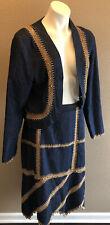 New listing Vintage Lew Magram Collection Denim Bolo Short Jacket & Skirt Pearl Embellished