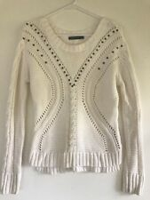 PORTMANS Women's LINEN & COTTON White Beaded Knit Chrochet Lace Jumper Sz Xs