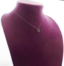 "DIAMOND (15) HEART 14k White Gold  and 15""  Chain SB Hallmark"