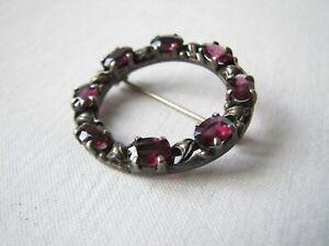 Vintage Antique Silver Garnet Ring Brooch Pin