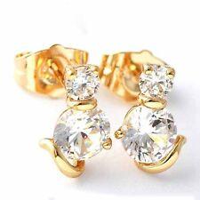 Cute Yellow Gold Filled Clear Crystal Stud Cat Earrings Korean