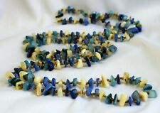 """VTG Polished Blue White Shell w/Glass Micro Bead Spacers Flapper Necklace 56"""""""