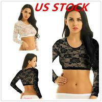 US Women Lace Floral Sheer Crop Top Slim Mesh See Through Blouse Shirt T-shirt